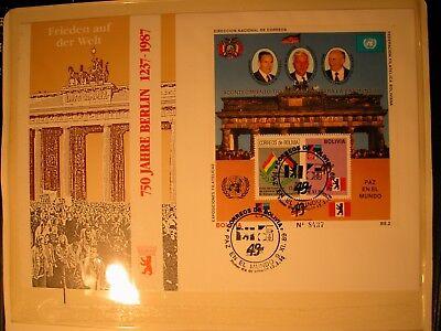 WunderschöNen Exclusiv Edition 750 Jahre Berlin 1 Block Bolivien Auf Fdc Sst Nummeriert Wappen Klar Und Unverwechselbar Post & Kommunikation