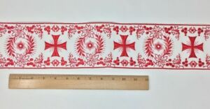 Vintage-Vestment-Rojo-Cruz-en-Blanco-4-034-Banda-Vendido-por-Patio