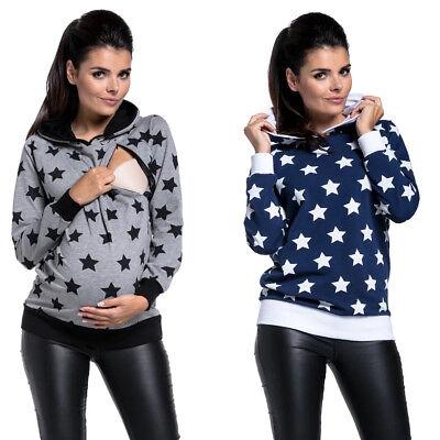 Women/'s Nursing Maternity Long Sleeves Hooded Breastfeeding Coat Sweatshirts Hot