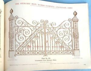 1907 Stewart Iron Works Victorian Cast Iron Fence Gate