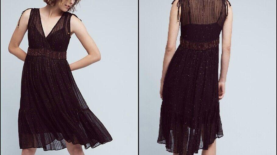 Anthropologie Annecy Midi Dress by Floreat schwarz Embellished Hi Low Sz 10