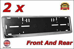 2x Chrome Car Number Plates Surrounds Holder For VW Transporter T5 T4