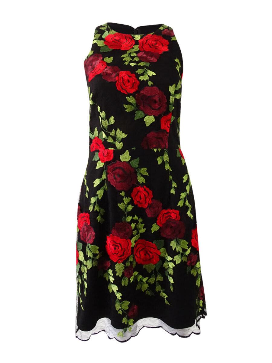 Betsey Johnson Woherren Embroiderot Racerback Dress (6, schwarz Multi)