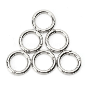 20X-Mini-Silver-Circle-Round-Carabiner-Spring-Snap-Clip-Hook-Keychain-Hiking-US