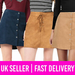 f0c881035ba0 Ladies Womens Suede Corduroy Lace-Up Tie Button Mini Skirt Tan Navy ...