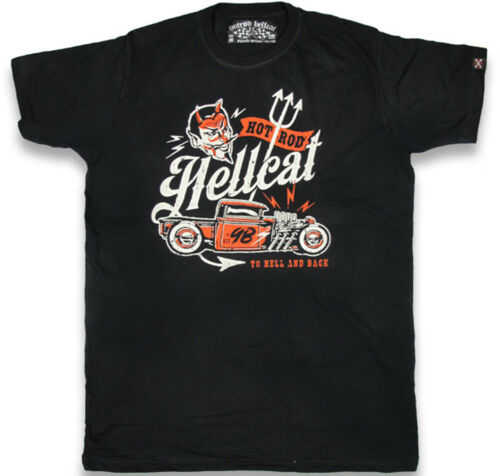 Hotrod Hellcat TO HELL AND BACK Hot Rod Devil HERREN T-SHIRT Rockabilly