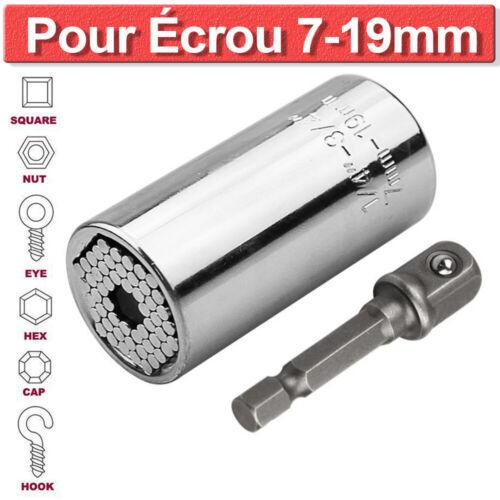 Clé à Douille Universelle pour écrou de 7-19mm Connexion Clé Cliquet Adaptateur