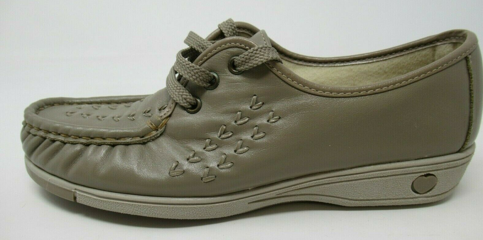 SOFTSPOTS WOMEN'S ORIG. BONNIE TAUPE GREY LEA. LACE-UP CASUAL COMFORT SHOES 7/N