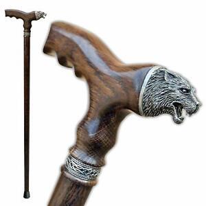 Wooden-Wolf-Head-Walking-Cane-Fancy-Men-039-s-Wood-Canes-Walking-Sticks-for-Men