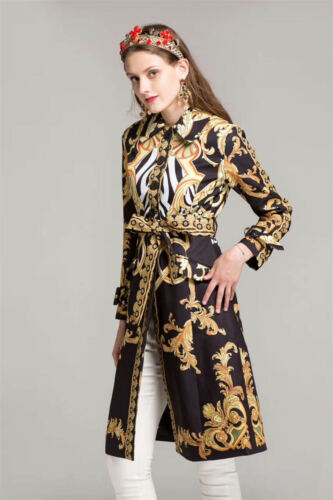 Women's Coat Pattern Bc05 Print Long Vintage Trench Gold Jacket Floral Black gzqdwP