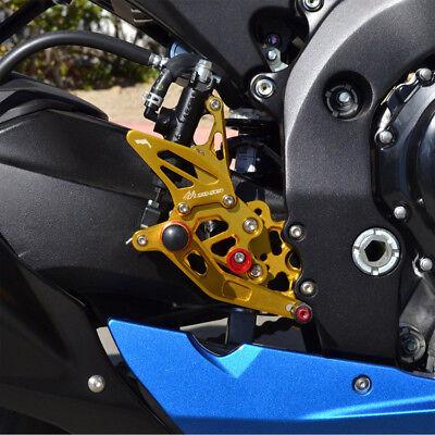 Motorcycle Rearsets CNC Adjustable Rear Foot Pegs Footrest For Suzuki Suzuki GSXR600 GSXR750 2011 2012 2013 2014 2015 2016 2017,Gold