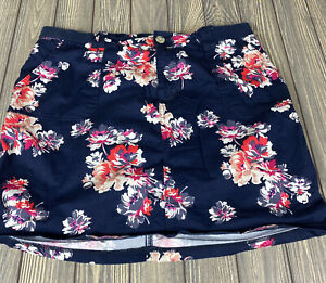 Riders-By-Lee-Womens-Navy-Blue-Pink-Floral-Skort-Shorts-Size-16-Midrise-Skirt