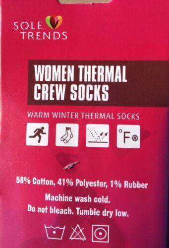 2x Women/'s SOLE TRENDS Warm Winter Thermal Socks Black//Red Stripes~Size 9-11