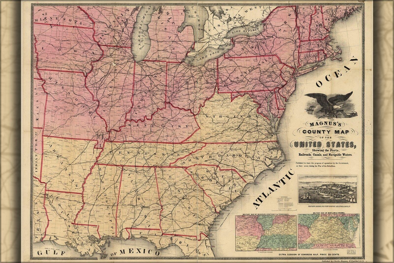 Poster, Many Größes; Civil War Map United States Forts Railroads 1862