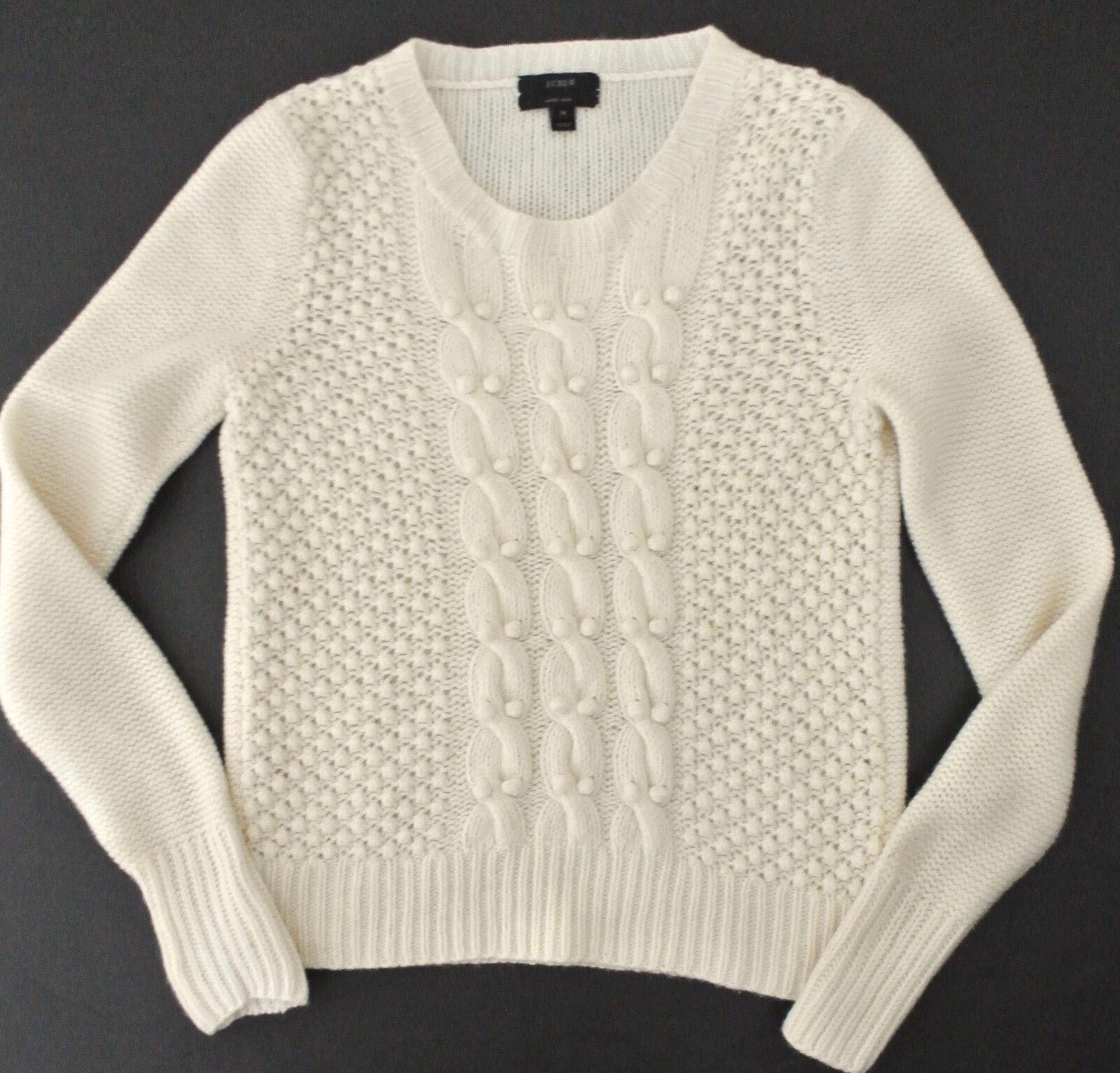 J CREW Handknit Popcorn Sweater sz M ivory lambswool
