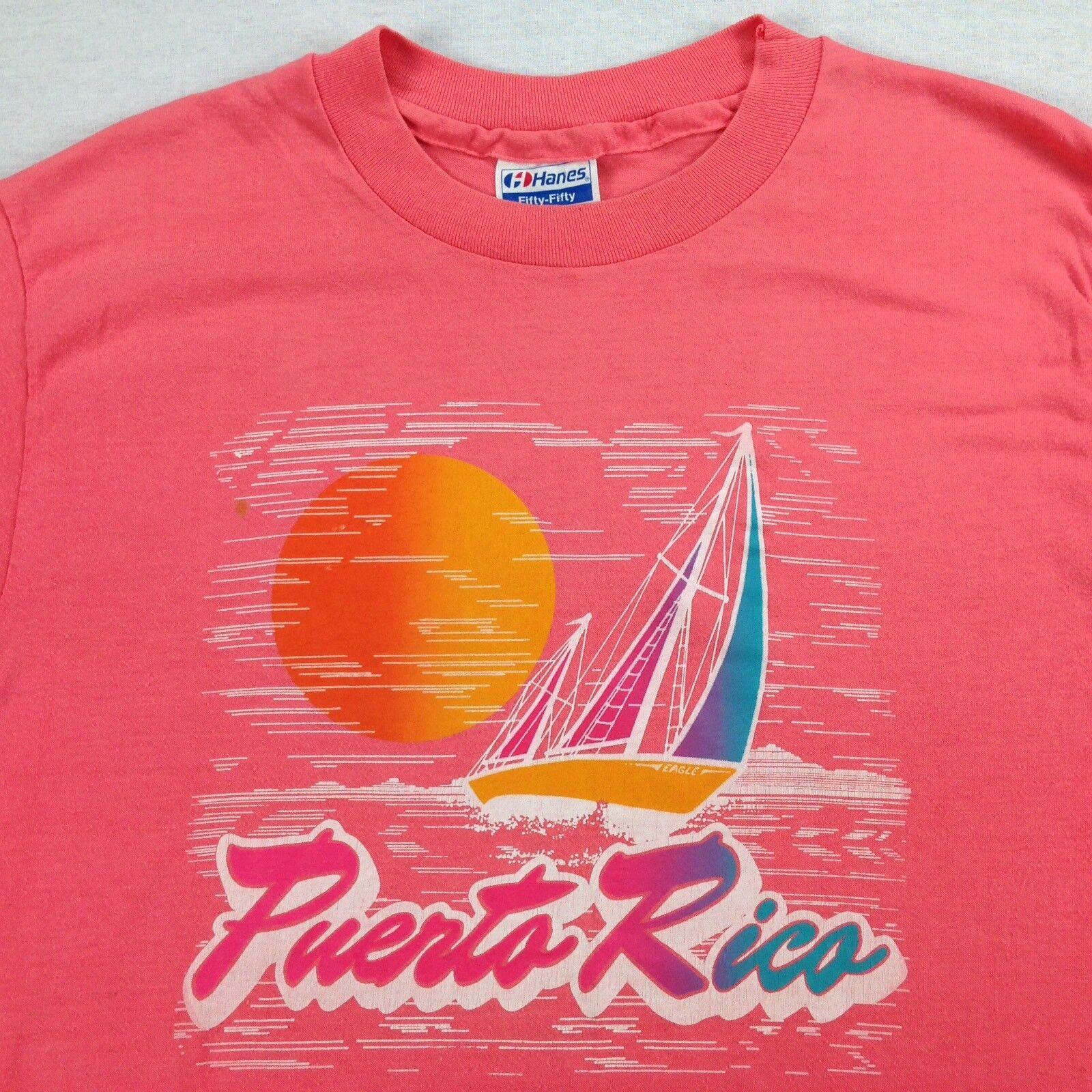 VTG 80s Hanes Paper Thin T-Shirt Tee LARGE USA Made Puerto Rico Sail Boat Surf