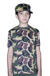 Army-Boys-Girls-Camouflage-T-Shirt-amp-Hat-Set-Fancy-Dress-Armed-Forces-Costume
