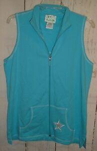 Womens-Quacker-Factory-Vest-Top-Blue-Zip-Up-Sleeveless-Embellished-Star-Sz-S