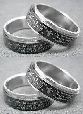 R056S Spanish Rosary Prayer Bible black spin Stainless Steel Ring you pick size