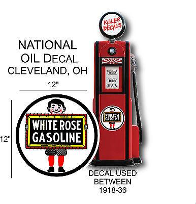 "LUBSTER 12/"" WHITE ROSE BOY GASOLINE OIL VINYL DECAL FOR GAS PUMP"