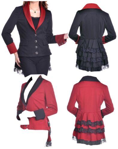 8-28 Noir Rouge Gothique Dentelle Long Queue de Poisson Ring Master Prince Butler Circus Jacket
