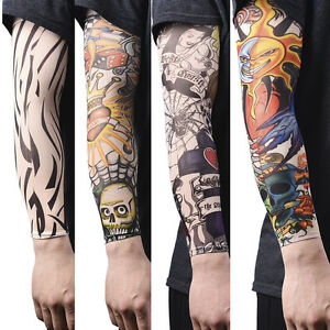 Men's Arm Warmers 1pcs Trendy Men Women New High Elastic Fake Temporary Tattoo Sleeve Designs Summer Sunscreen Body Arm Warmers Pure White And Translucent
