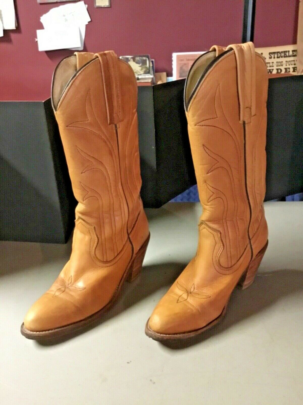 Vintage FRYE Leather Cowboy Boots, Size 5 1/2 B, MADE IN USA! Very Good Cond!