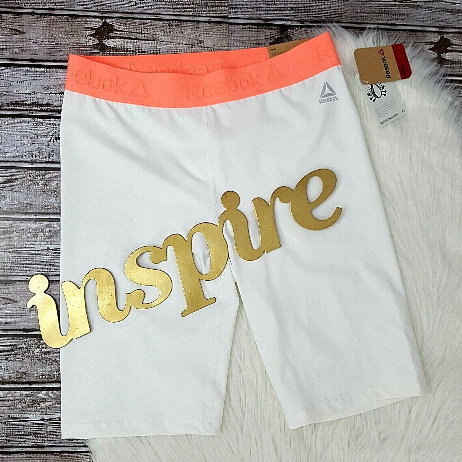 Reebok Womens Compression Shorts Fitted Max Work Out Support Stretch Orange Sz M