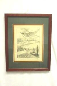 Framed Ink Drawing of a Wren by B. Kotch 12.25 in x 15 in