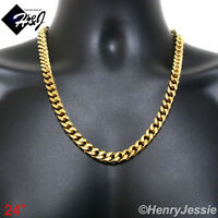 """24""""MEN Stainless Steel HEAVY WIDE 9x4mm Gold Cuban Curb Link Chain Necklace*N140"""
