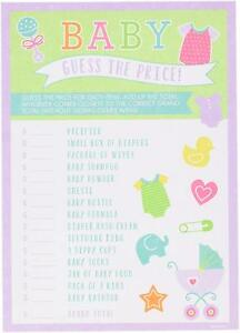 Baby Shower Guess The Price Game 24 Sheets Party Game Idea