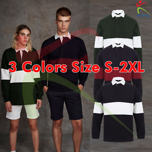 FRONT-ROW-Panelled-Unisex-Cotton-Rugby-Shirt-Tag-Free-Men-Women-Heavyweight-Top