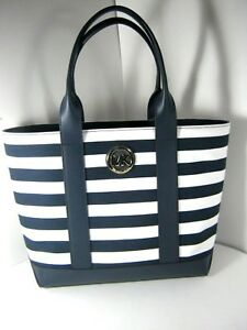 3b8572ad62 Details about Michael Kors MK Fulton Medium Striped Canvas Tote Navy white  NEW NWT