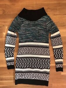 Maurices-Patterned-Sweater-Dress-Cowl-Neck-with-Lining-Womens-Size-Small