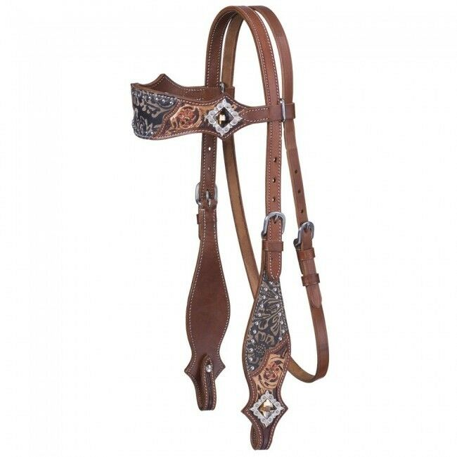 Jameson Collection Headstall - Brown Tooled Leather -  45-7895 - NEW -