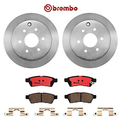 Rear Disc Brake Rotors and Ceramic Brake Pads For 2005 Nissan Altima S 2.5 Liter L4 Pads with Hardware Two Years Warranty