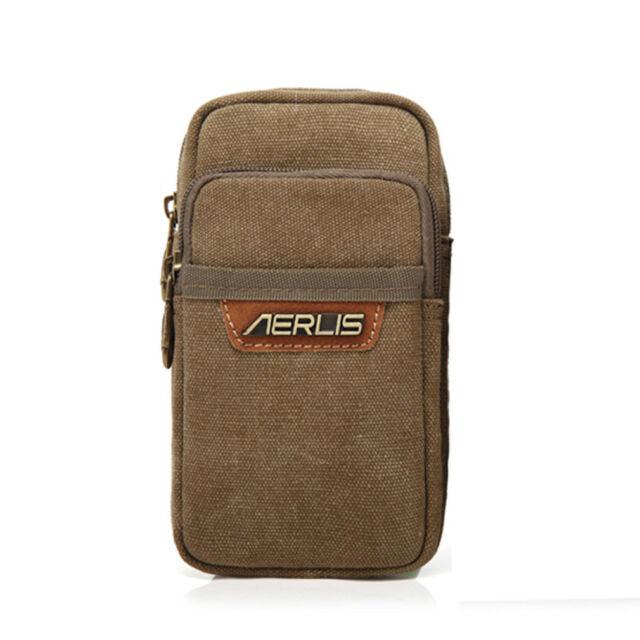 Men's Canvas Cell Mobile Phone Belt Pouch Purse Belt Fanny Pack Hook Waist Bag