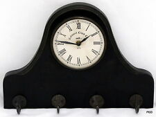 Colonial Clock Co Wood Wall Coat Hanger Battery Operated Prestige Movement