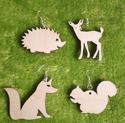 Wooden earrings natural plain wood craft decoupage laser cut woodland animals