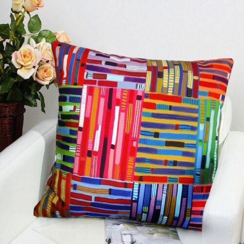Carrés et rayures Velvet Pillow Cover Art Populaire Tailles Diverses Karla Gerard