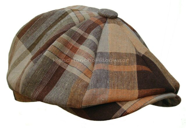PLAID LINEN MADRAS GATSBY NEWSBOY CAP IVY Hat Cotton Golf Driving Brown Cabbie