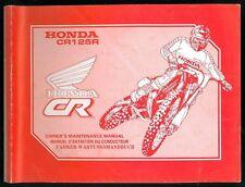 Revue d'Atelier HONDA CR 125 R 1990 Manuel technique Maintenance Manual CROSS
