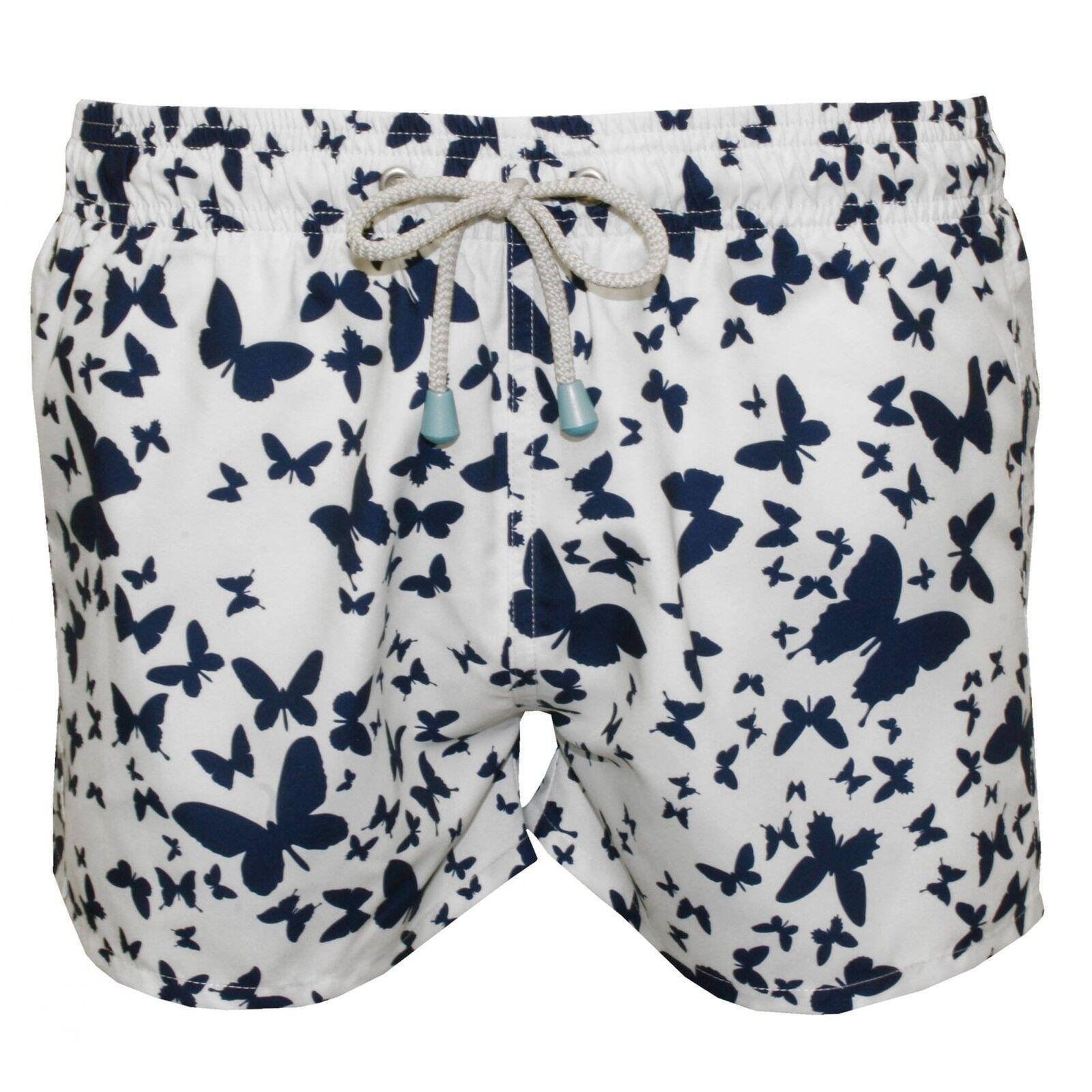 Oiler & Boiler Chevy Short Butterfly Print Men's Swim Shorts, White Navy