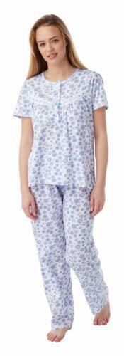 100/% Cotton Short Sleeve Floral Pyjamas Sizes 8-26 Pink or Blue Print