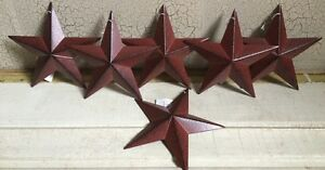 Set-of-12-BURGUNDY-BLACK-BARN-STARS-5-5-034-PRIMITIVE-COUNTRY-DECOR-ANTIQUE
