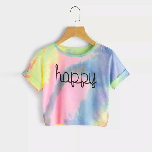 Women's Fashion Gradient Letter Print Blouse Crop Tank Short Sleeve Tops T-shirt