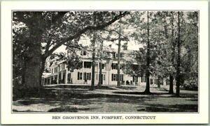 "Pomfret, Connecticut Postcard ""BEN GROSVENOR INN"" Hotel View c1930s Unused"