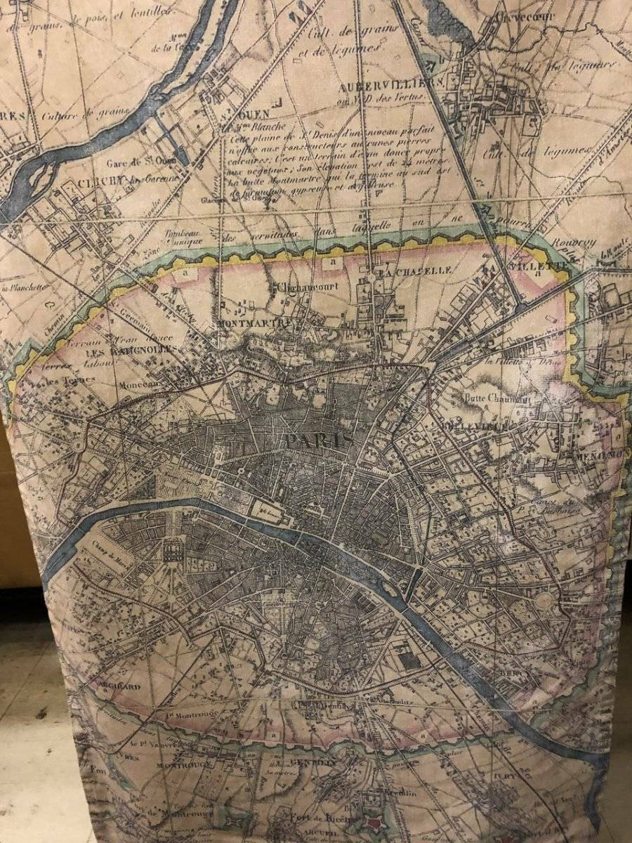 Pottery Barn WALL HANGING CANVAS - VINTAGE PARIS MAP MAP MAP New 80ed8c