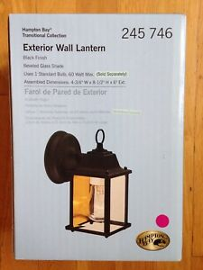 HAMPTON BAY EXTERIOR WALL LANTERN LIGHT BLACK FINISH, NEW IN BOX ...