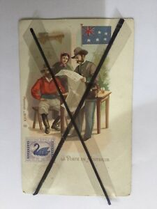 ANTIQUE-VINTAGE-WESTERN-AUSTRALIA-COLOUR-POSTCARD-in-FRENCH-with-BELGIUM-STAMP